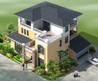 永云别墅AT281三层带双车库现代豪华别墅全套专业施工设计图纸19mx17m