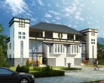永云别墅AT086三层双拼中式徽派豪华别墅全套建筑设计图纸25.4mx12.3m