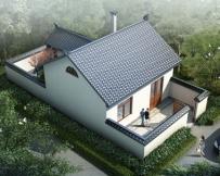 永云别墅AT232一层中式前后院自建别墅设计全套施工图纸6.9mx13.9m