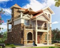 AT243三层带西班牙风格堂屋及隔热层别墅建筑全套设计图纸12mx12.3m