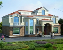 AT1759二层简欧带屋顶花园复式别墅设计全套图纸19.1mX14.1m
